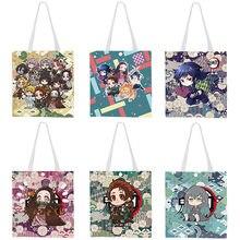 Novo japão anime comic demon slayer kimetsu não yaiba animação lona bolsa de ombro sacos de compras bolsa