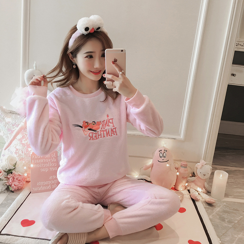 Autumn And Winter New Style Flannel Pajamas Women's Thick Coral Velvet Set