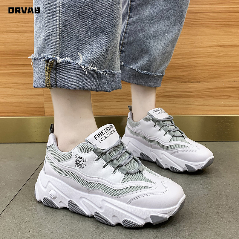 White Sneakers Women Platform Shoes Tenis Feminino Split Leather Mesh Breathable Casual Shoes Woman Chunky Sneakers Sapato Femme