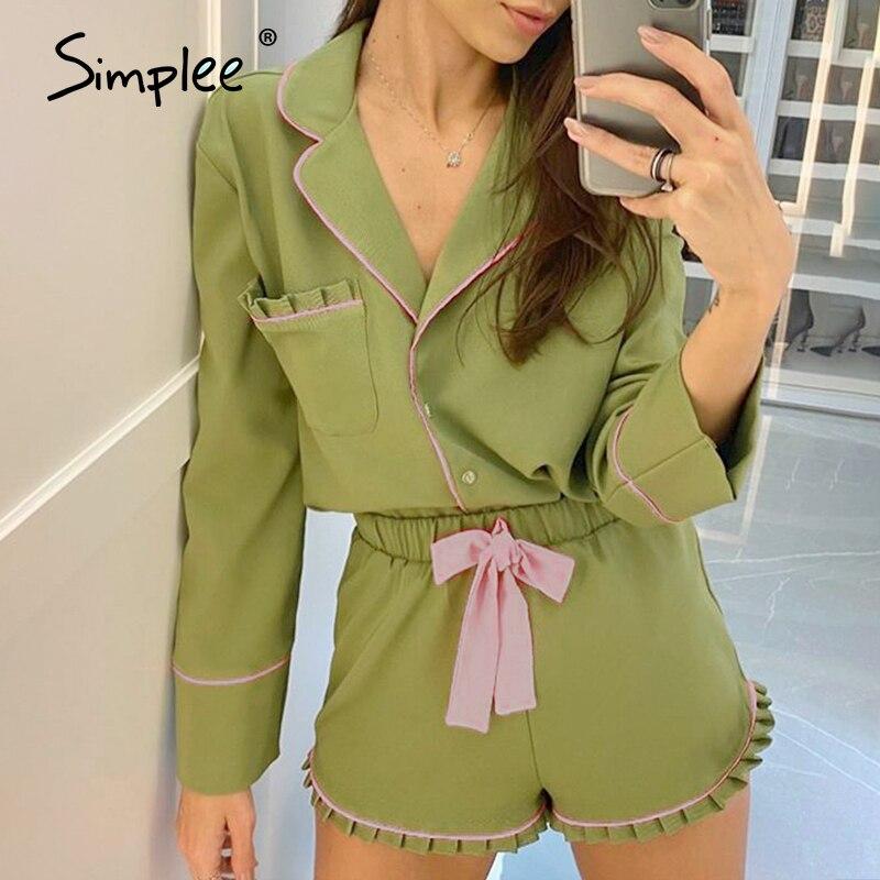 Simplee Frauen Grün Casual Pyjamas Pyjamas Set Langarm Nachtwäsche Pijama Anzug Weibliche Schlaf Zwei Stück Frauen Set Loungewear