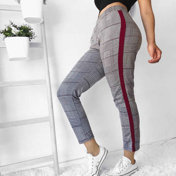 Women High Waist Elastic Harem Pants Stretch Skinny Plaid Casual Slim Joggers Pencil Trousers for Spring Autumn