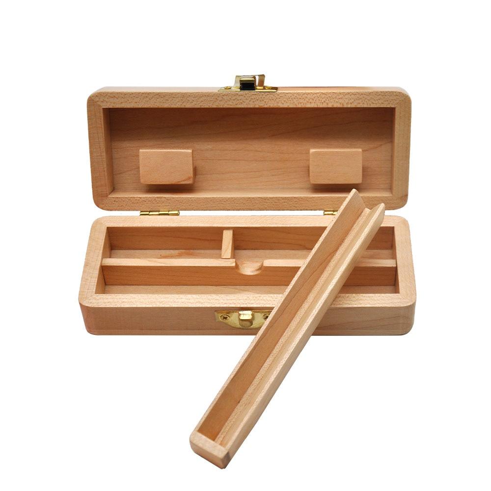 Tobacco Wooden Stash Case Box  Aluminum Herb Grinder  Metal Smoking Stash Storage Jar Smoke Hand Pipe Smoking gift cigarette Box 4