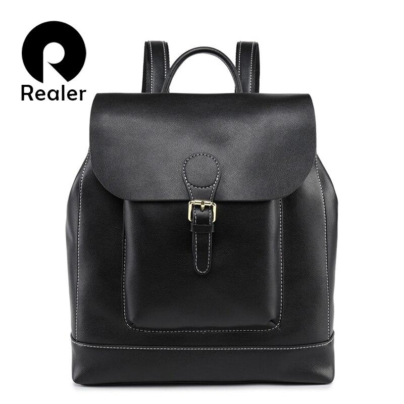 Realer Vintage Backpack Female Leather Women's Backpack Large Capacity School Bag For Girls Leisure Shoulder Bags For Women 2019