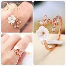 Vintage Shell Flower Rings For Women Wedding Promise Ring Adjustable Finger Rings Girl Crystal Zircon Leaf anillos Femme Z5 rhinestoned flower leaf finger ring