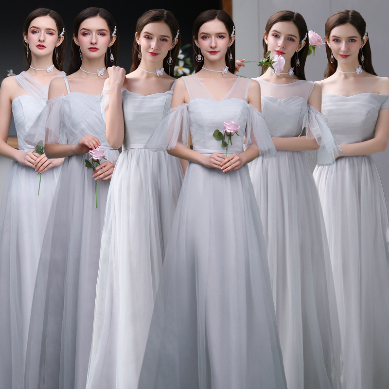 A-Line Gray Burgundy Bridesmaid Dresses Plus Size Tulle Elegant Dress Women For Wedding Party Sexy Dress Prom Azul Royal Vestido