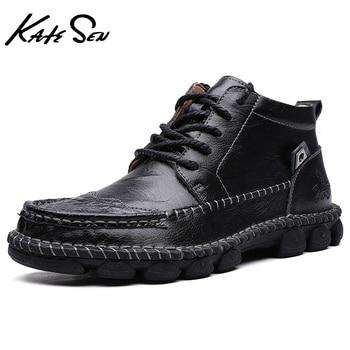 KATESEN New Men Winter Boots Soft Comfortable Man Flat Motorcycle fashion Vintage Ankle brown