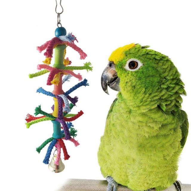 6 Pcs/set Pet Birds Swing Toys Parrots Chewing Hanging Perches Bells Small Parakeets Parrot Cage Bite Climbing Rope Toy 5