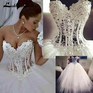 Ball-Gown Corset Wedding-Dresses Lace Pearls Sweetheart Princess See-Through Floor-Length