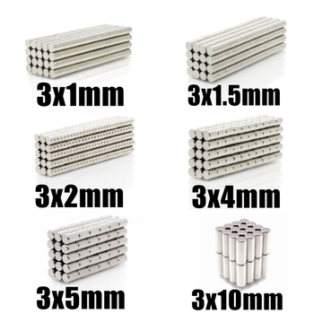 100 pcs 500 pces n35 ímã redondo 3x1 3x1.5 3x2 3x4 3x5 3x10 neodímio ímã permanente ndfeb super forte ímãs poderosos 3*1 3*2