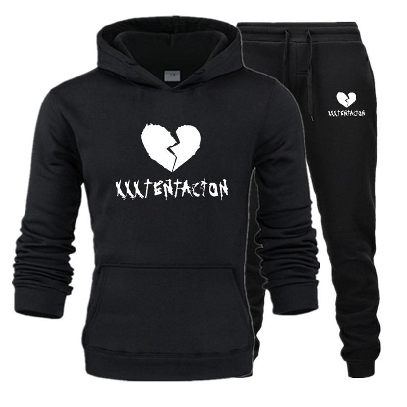 XXXTentacion Fashion Brand Men's Clothing Fleece Hooded Pullover Fashion Brand Hoodies Sweatshirts+Sweatpants Suits Sweatshirt