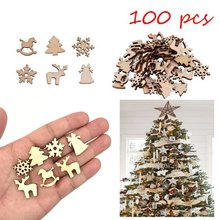 100pcs Wooden Christmas Tree Ornaments Mini Snowflake Tree Hanging Pendants Christmas Decorations For Home New Year Gift(China)