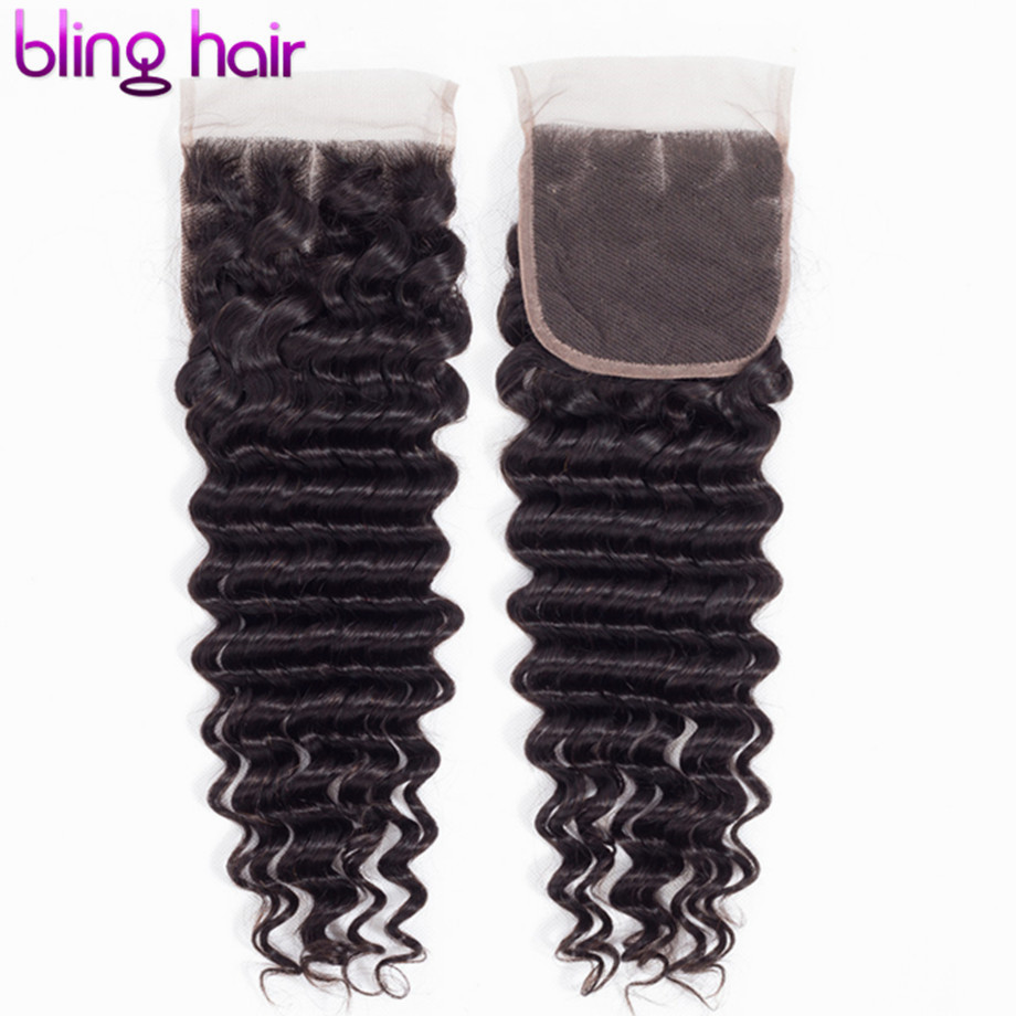 bling hair Deep Wave Lace Closure Brazilian Remy Human Hair Closure 4*4 Swiss Lace Clsoure Middle/Free/Three Part Natural Color