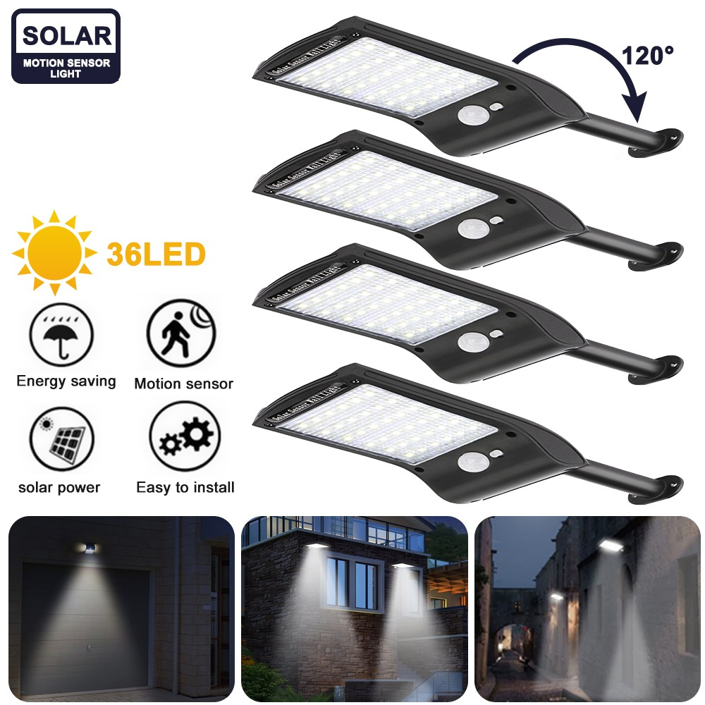 50 56 LED Solar Motion Sensor Wall Light Outdoor Street Lamp with Remote Control Waterproof Garden Street Lamp Adjustable
