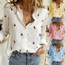 DeRuiLaDy Women Blouses 2020 Long Sleeve Animal Print Blouse Casual Loose Office Shirt