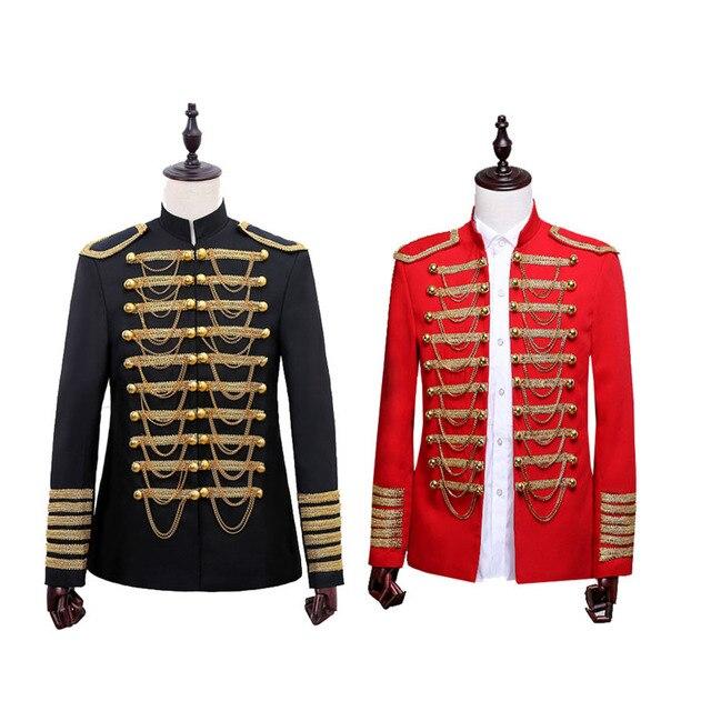 スチームパンク王子衣装軍事タッセルチェーンハロウィンジャケットコート歌手ポップスターブレザースーツ王室ための男性黒
