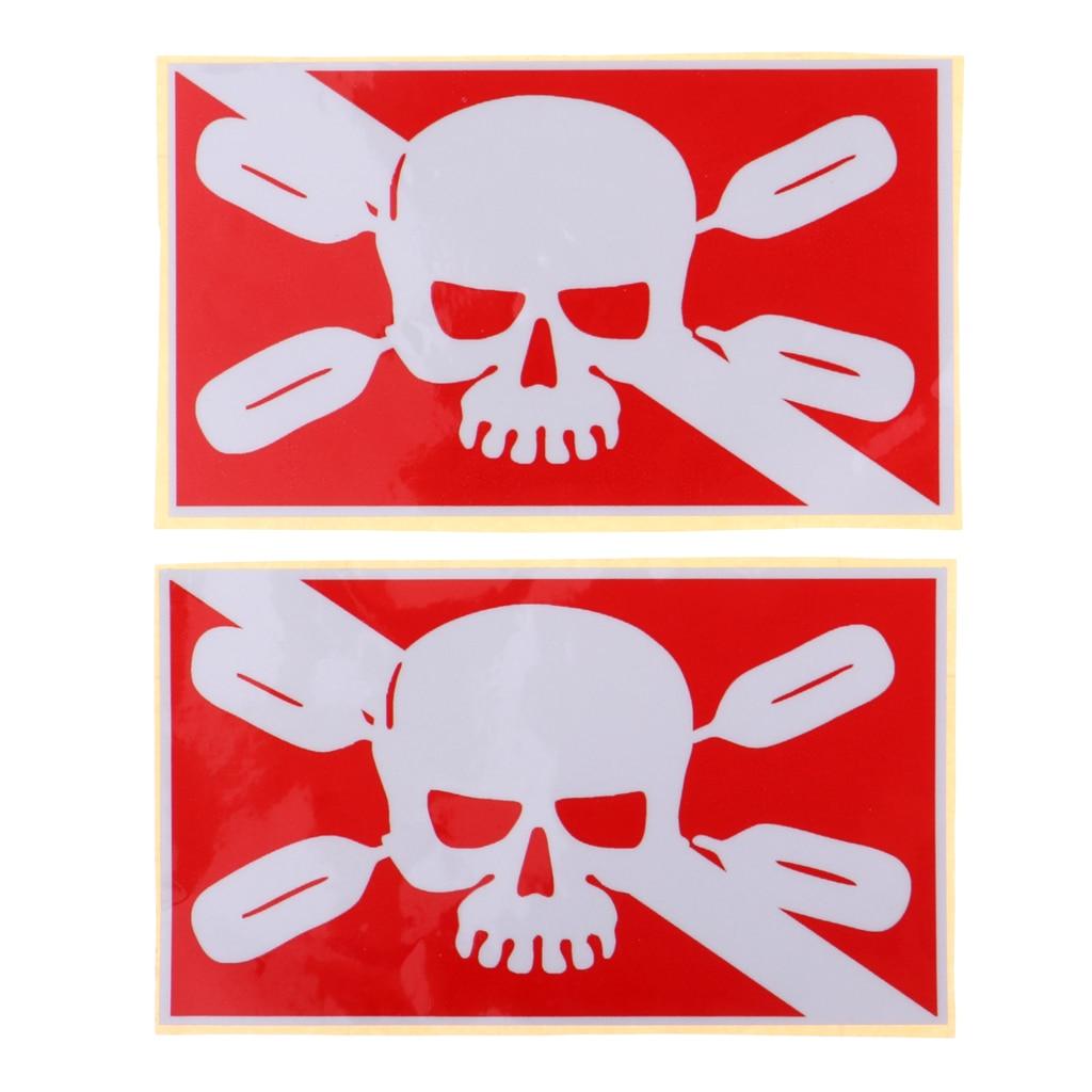 6pcs Diver Diving Sticker White/Red Skull Fish Skeleton Decal Decoration