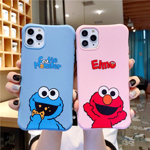 Cute cartoon Sesame Street Cookie Elmo phone case for iphone 12 11 Pro X XS Max XR 7 8 6 6S Plus relief soft candy back cover