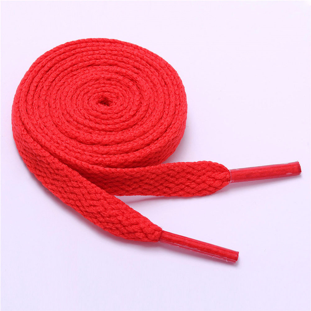 1Pair Double Flat Laces High Quality Polyester Shoelaces Fashion Sports Casual Shoe Lace Solid Flat Shoelace 15 Colors