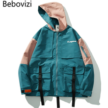 Bebovizi 2019 Bestsellers Men Streetwear Windbreaker Harajuku Jackets Hoodies Hip Hop Patchwork Ribbon Jacket Coat Clothes