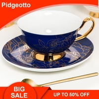 British Style Bone China Coffee Cup With Spoon Gold Afternoon Tea Saucer Set Bridesmaid Gift Free Shipping