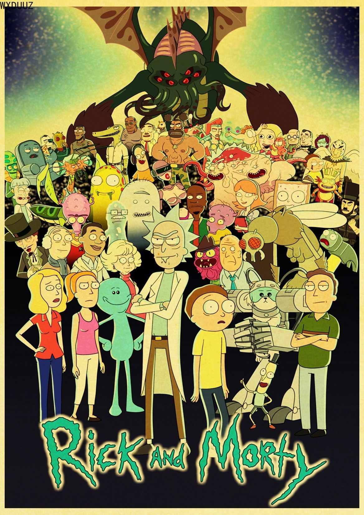 漫画ポスターリックと Morty レトロポスターウォール紙高品質家の装飾壁ステッカーアートキャンバス絵画
