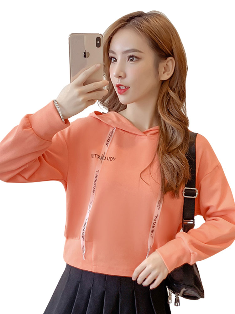 Autumn Cropped Hoodies Women 2019 New Korean Edition Long Sleeve Letter Print Hooded Casual Sweatshirt Pullovers Harajuku Tops 91