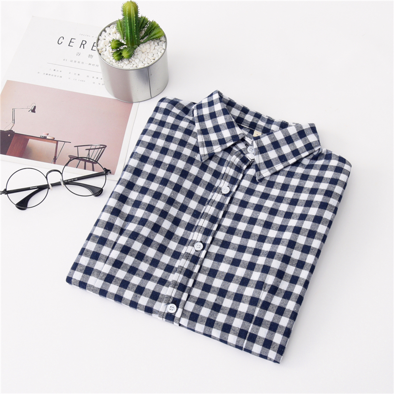 2020 New Women Blouses Brand New Excellent Quality Cotton 32style Plaid Shirt Women Casual Long Sleeve Shirt Tops Lady Clothes 38