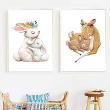 Cartoon Flower Rabbit Mother Baby Deer Nordic Posters And Prints Wall Art Canvas Painting Pictures Kids Room