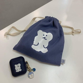 Ins Concise Printing Cute Bear Pencil Cese Cosmetic Bag Large Capacity Student Canvas Drawstring Storage School Stationery