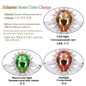 Image 5 - Kuololit Zultanite Gemstone Ring for Women Solid 925 Sterling Silver Created Color Change Water Drop Stone Ring Fine Jewelry