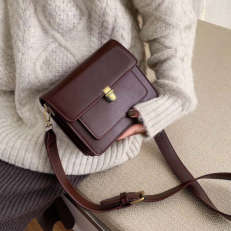 MINI Solid Color PU Leather Crossbody Bags For Women 2020 Lock Shoulder Messenger Bag Travel Small Handbags And Purse