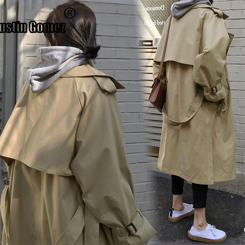 Brand fashion Classic Ladies oversized   Trench   Coat Belted Cloak overcoats Windbreaker Abrigos casaco feminino