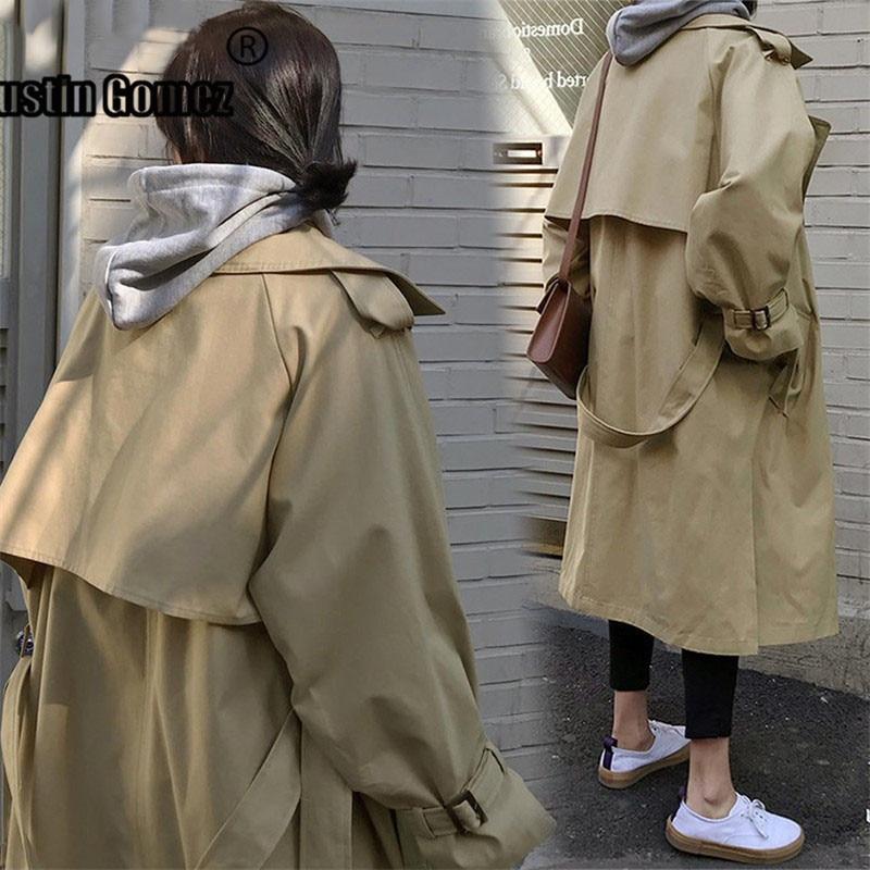 Brand fashion Classic Ladies oversized   Trench   Coat Belted Cloak overcoats Windbreaker Abrigos casaco feminino