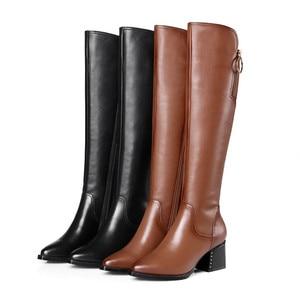 Image 4 - Stile britannico della pelle bovina materiale con cerniera decorativa stivali a punta di spessore tacco alto cerniera laterale suole di gomma stivali invernali donne