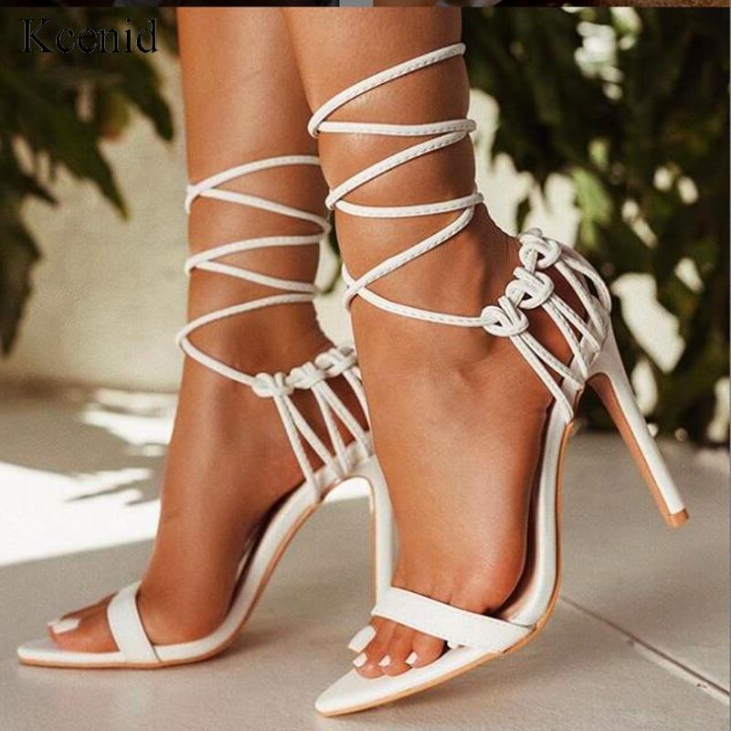 Kcenid Fashion 2020 summer women's sandals PU lace-up knot ladies high heel sandals sexy leopard woman shoes sandalen pumps new