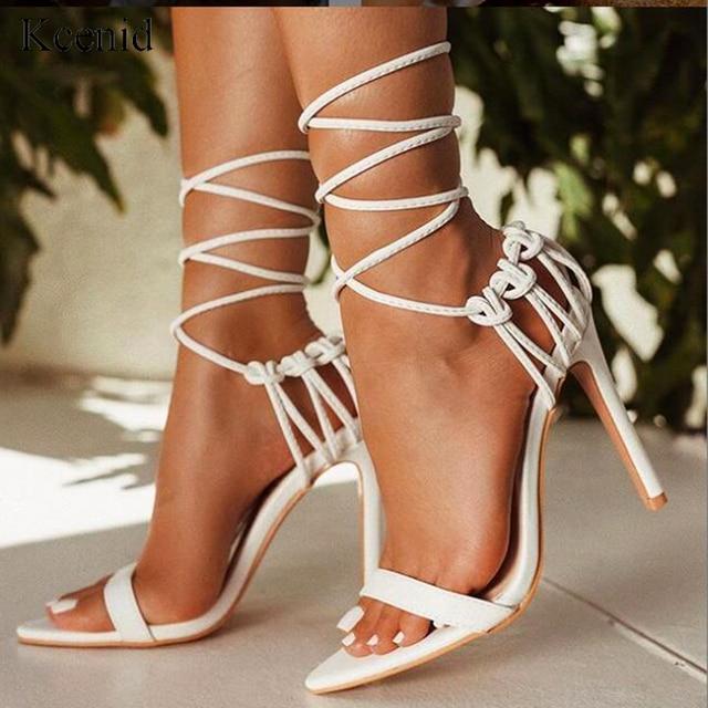 Kcenid แฟชั่น 2020 ฤดูร้อนผู้หญิงรองเท้าแตะ PU LACE up Knot ส้นสูงรองเท้าแตะเซ็กซี่เสือดาวรองเท้าผู้หญิงรองเท้าแตะปั๊มใหม่