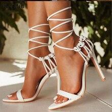 Kcenid Mode 2020 sommer frauen sandalen PU lace up knoten damen high heel sandalen sexy leopard frau schuhe sandalen pumpen neue