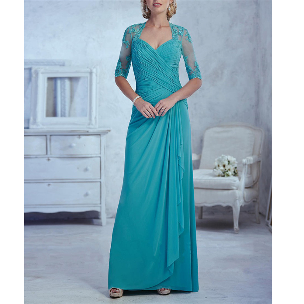 Dreamy Chiffon Appliques Dinner Dresses For Women Half Sleeves V-Neck A-line Ruffles Chiffon Full-Length Vestido Para Madrinha