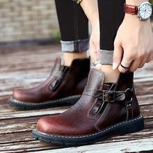 KATESEN Men Boots Genuine leather Martin Winter Warm Shoes for unisex British Vintage high quality Desert big size 38-46