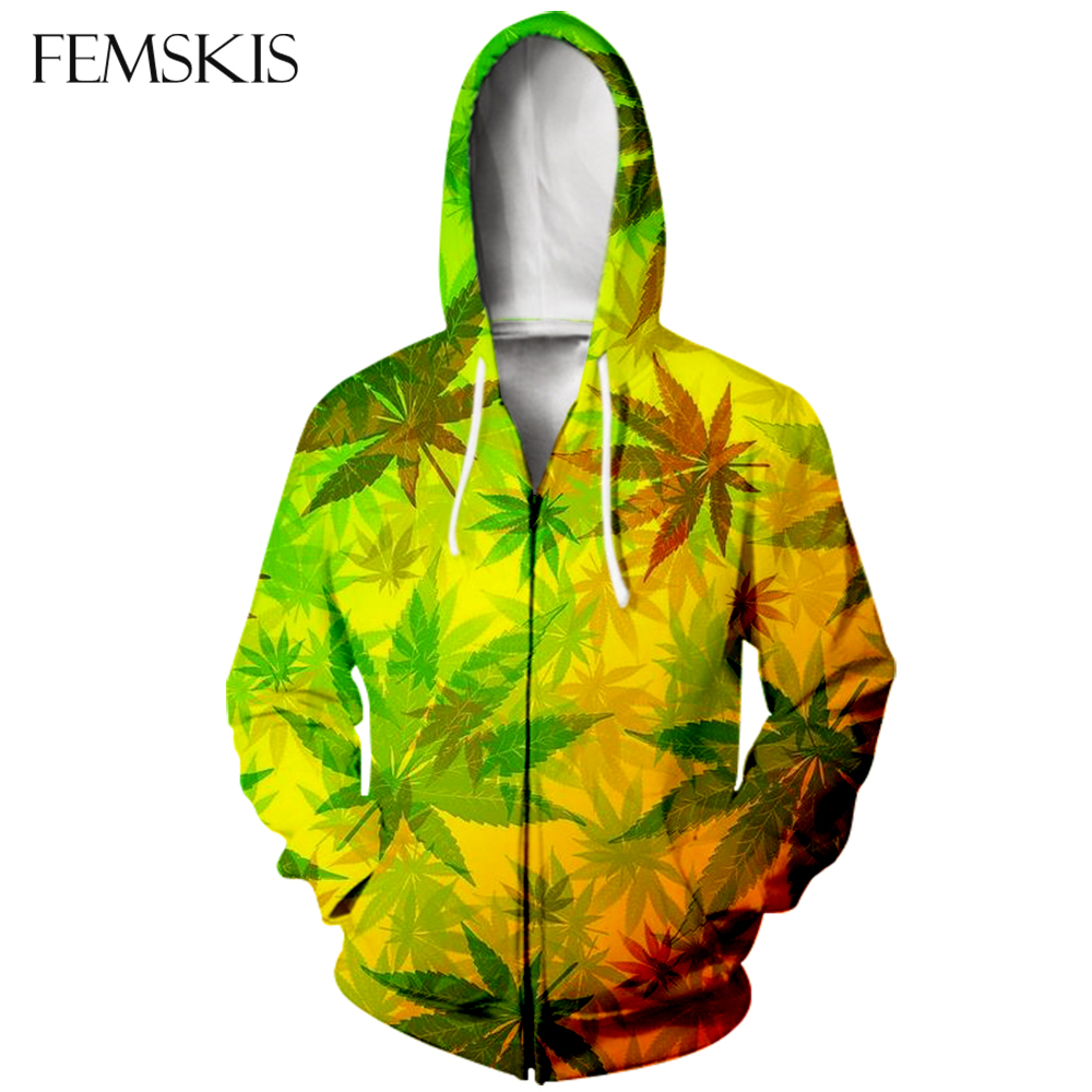 FEMSKIS New Zipper 3D Printing Hoodies Maple Leaf Men Hoodies Sweatershirt Hooded Women Hoody Jacket Coat Streetwear Long Sleeve