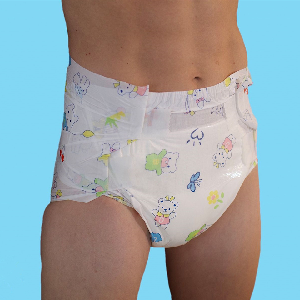 12Pcs 5000ml Velcro Style Diaper Rabbit And Bear Print Diaper Pant Adult ABDL Diapers For Men For Women