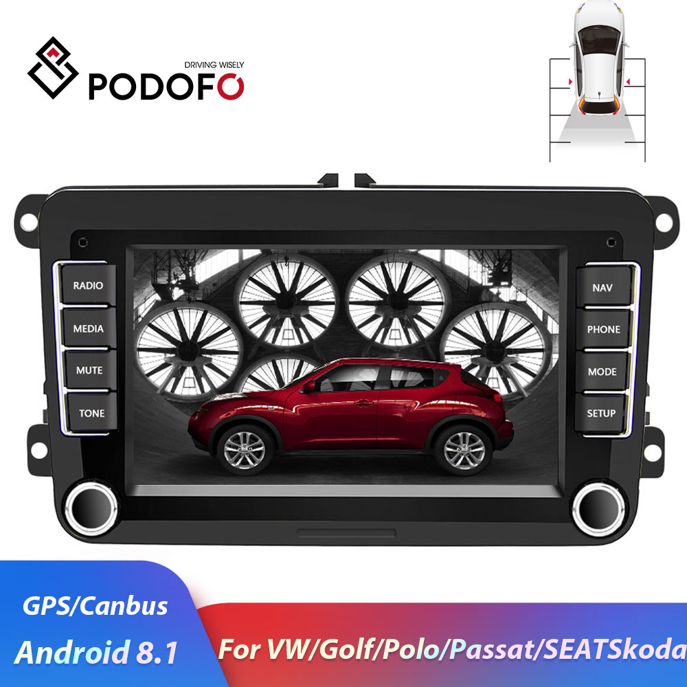 Podofo 2Din Android Car Radio For Volkswagen Car Multimedia Displayer Car Stereo For VW/Golf/Passat/SEAT/Skoda/Octavia Autoradio