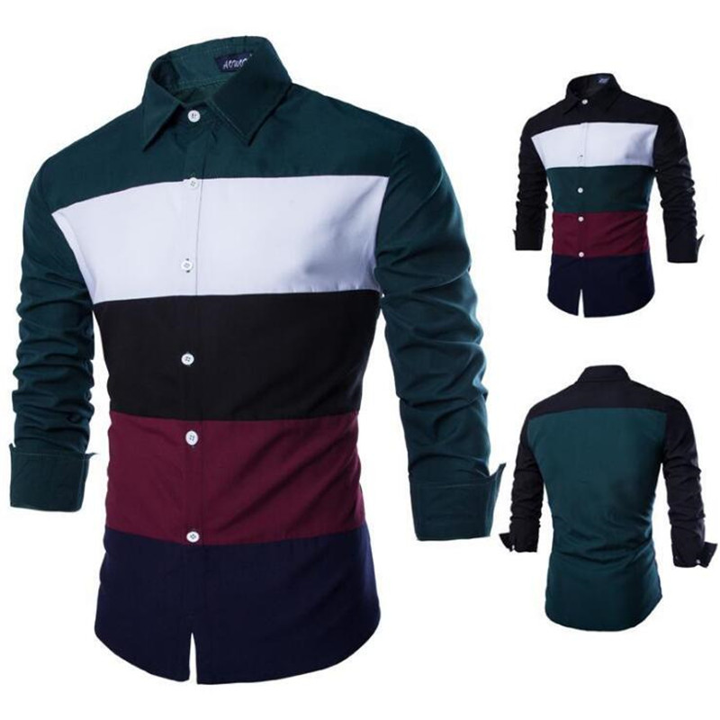 New Mens Shirts Long Sleeve Plus Size Cotton Blends Colorful Striped Casual Slim Fit Shirts Male Stitching Tops Clothing XXL