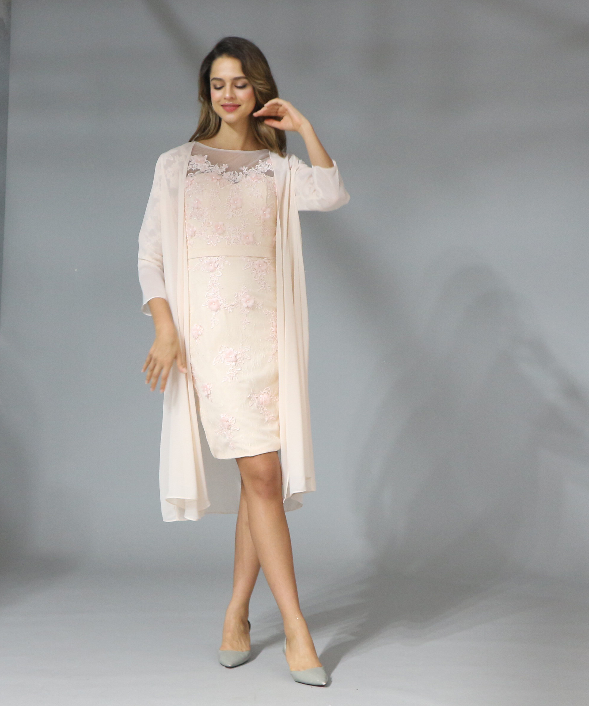 2019 Elegant Lace With Chiffon Tea Length 3/4 Sleeve Mother Of The Bride Dress Plus Size Vestido Madre De La Novia title=