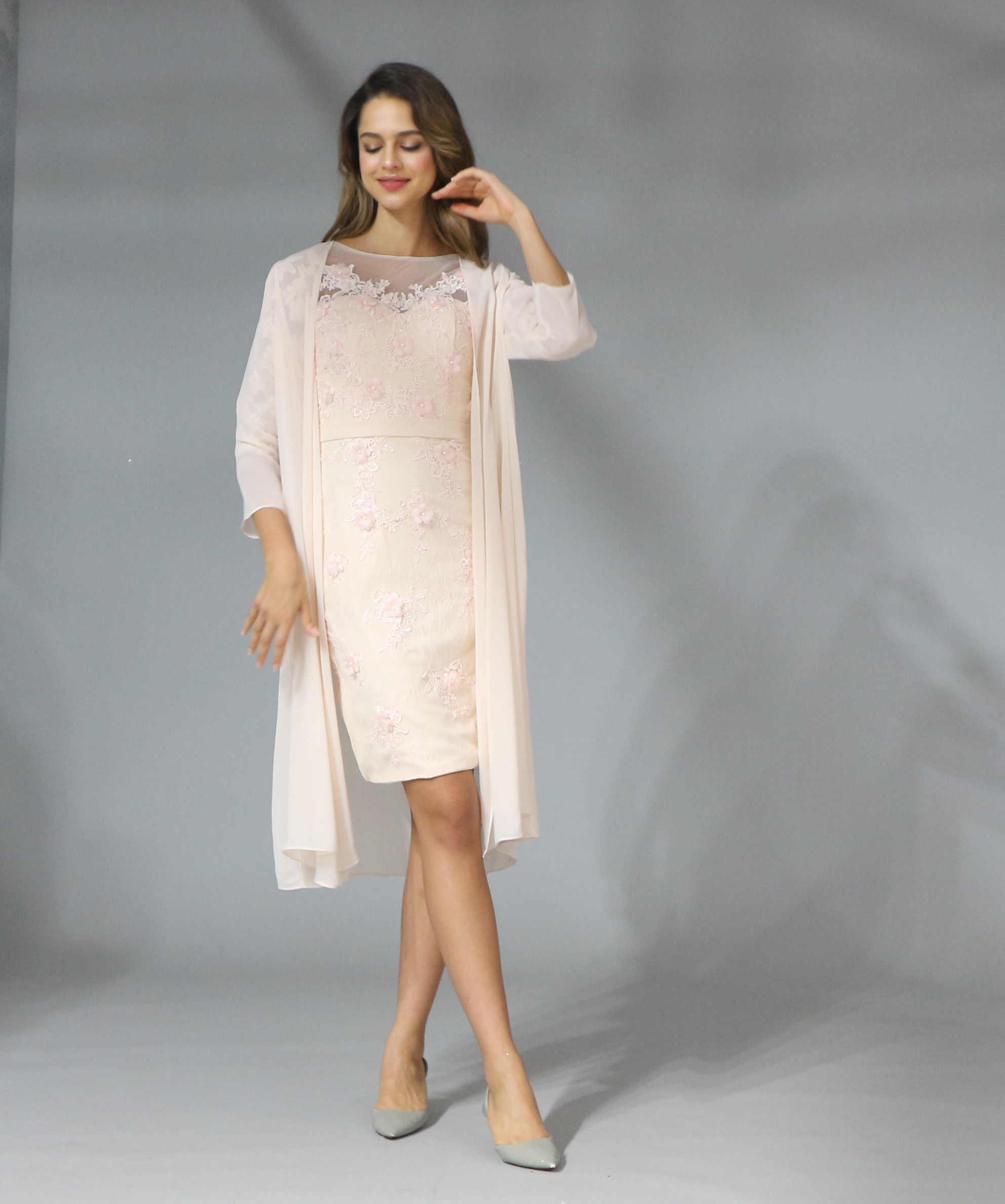 2019 elegante encaje con gasa té longitud 3/4 manga Madre De La Novia Vestido De talla grande Vestido Madre De La Novia