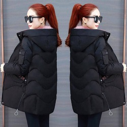 Vangull 2019 Women Winter Hooded Warm Coat Plus Size Green Cotton Padded Jacket Female Long Parka Womens Wadded Jaqueta Feminina 5