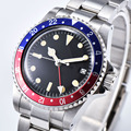1960 Retro Relógio GMT Estéril Discar Mecânico Automático dos homens 39.5 milímetros preto vermelho azul Folha De Alumínio Moldura Luminosa