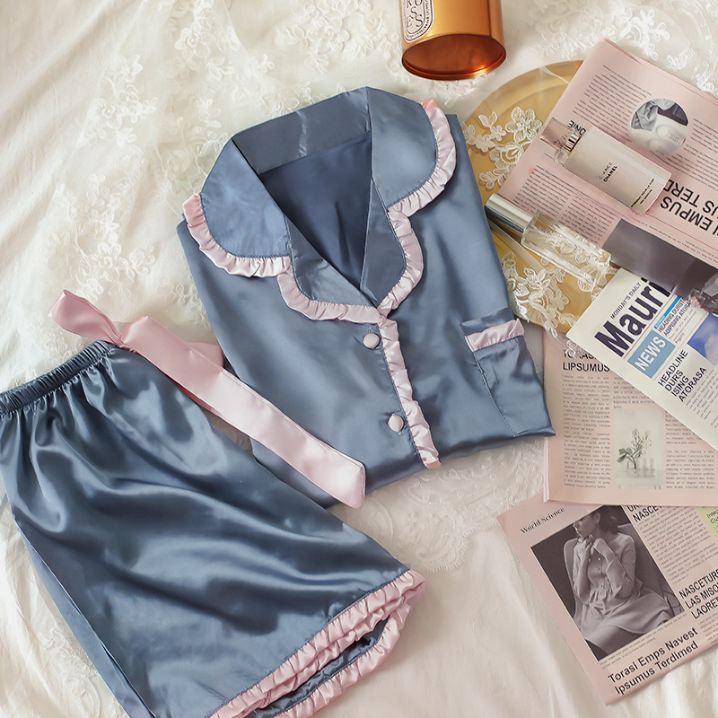 QWEEK Silk Pajamas For Women Ruffle Pijamas Femme Short Sleeve Homewear Summer Sleepwear Kawaii Pyjamas Mujer 2020 Nightie