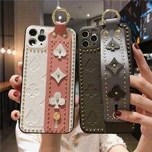 Fashion Luxury Rivets Wristband PU phone case for i