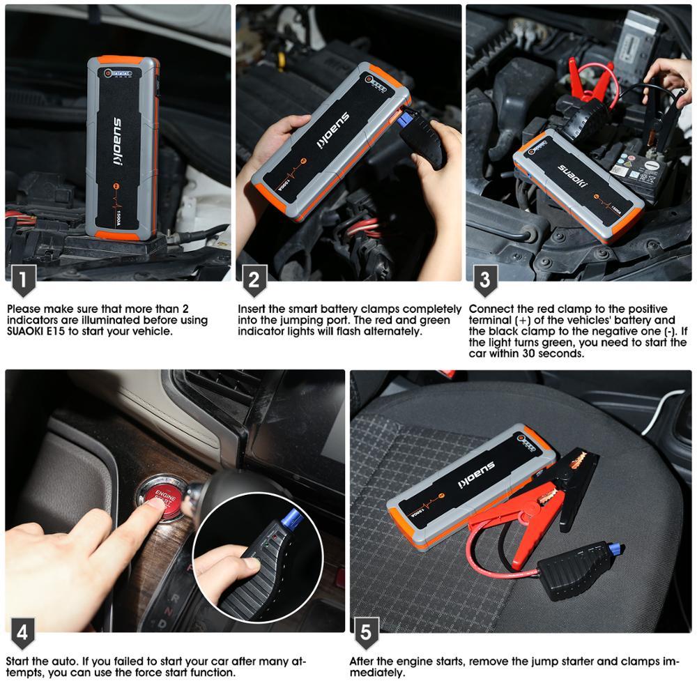 Suaoki E15 1500a Car Jump Starter Portable Battery Pack 20000mah Battery Booster Sslawcorp Com